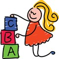 Girl with ABC blocks
