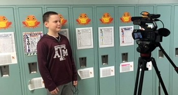 KCRG interviews Cascade Elementary student about the district Orange Frog initiative