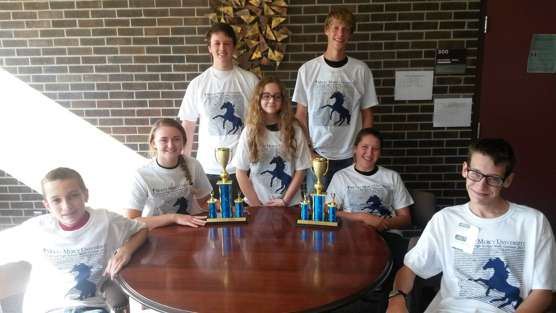 Group with Trophies - Mt. Mercy Math Competition