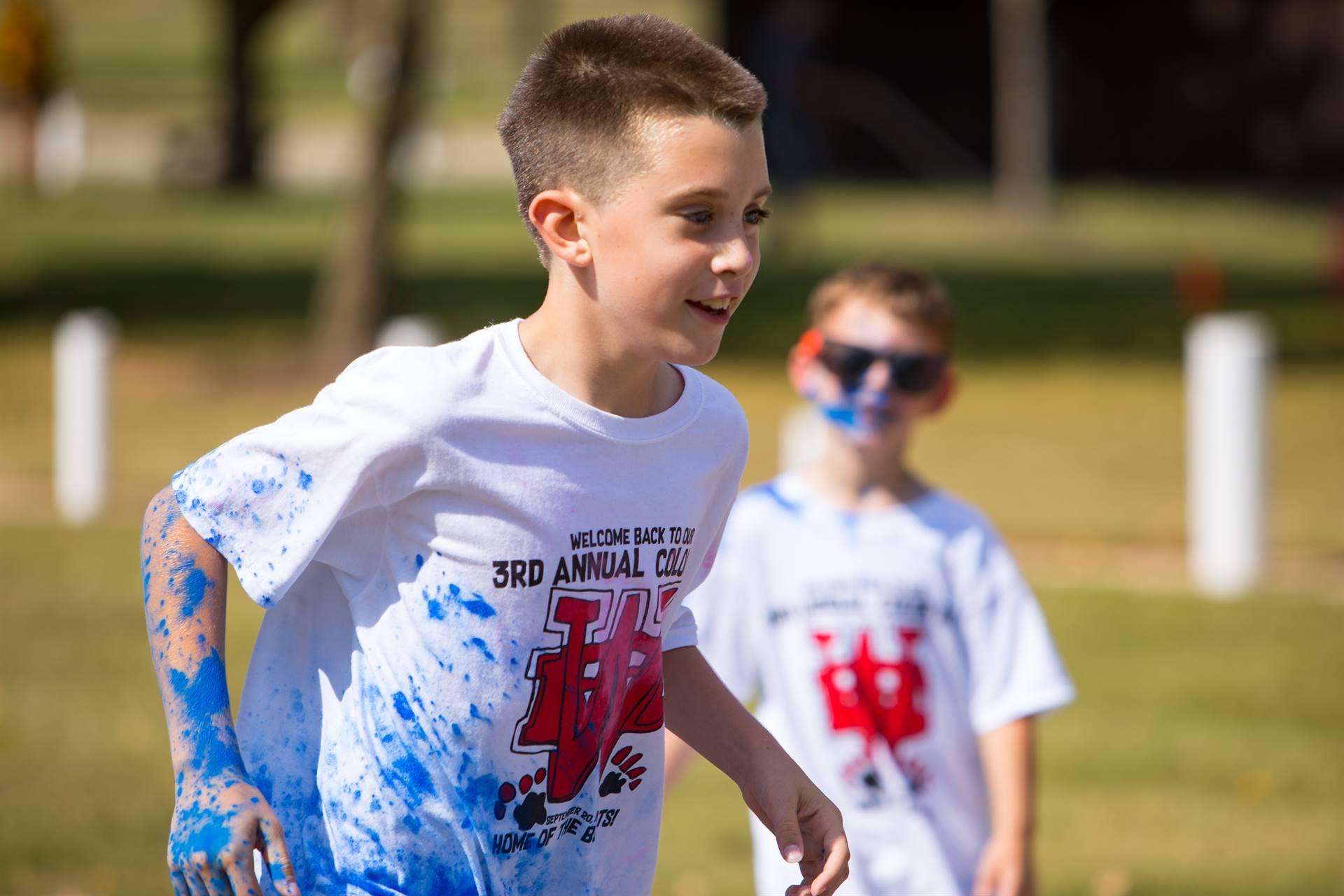 boy 6 at color run