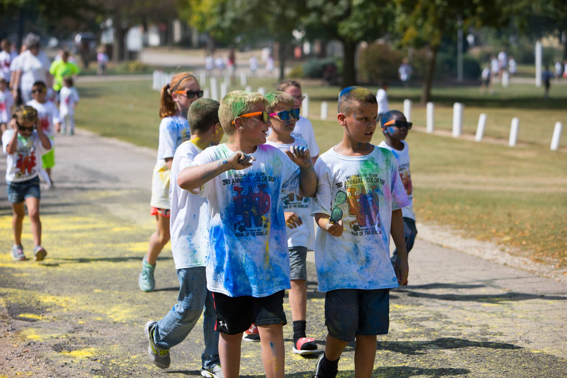 group of boys at color run