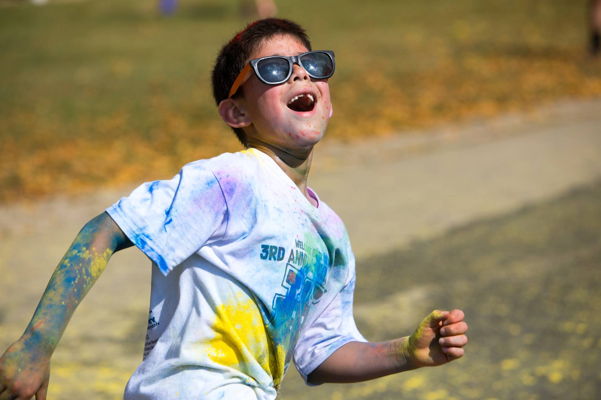 Silly boy at color run
