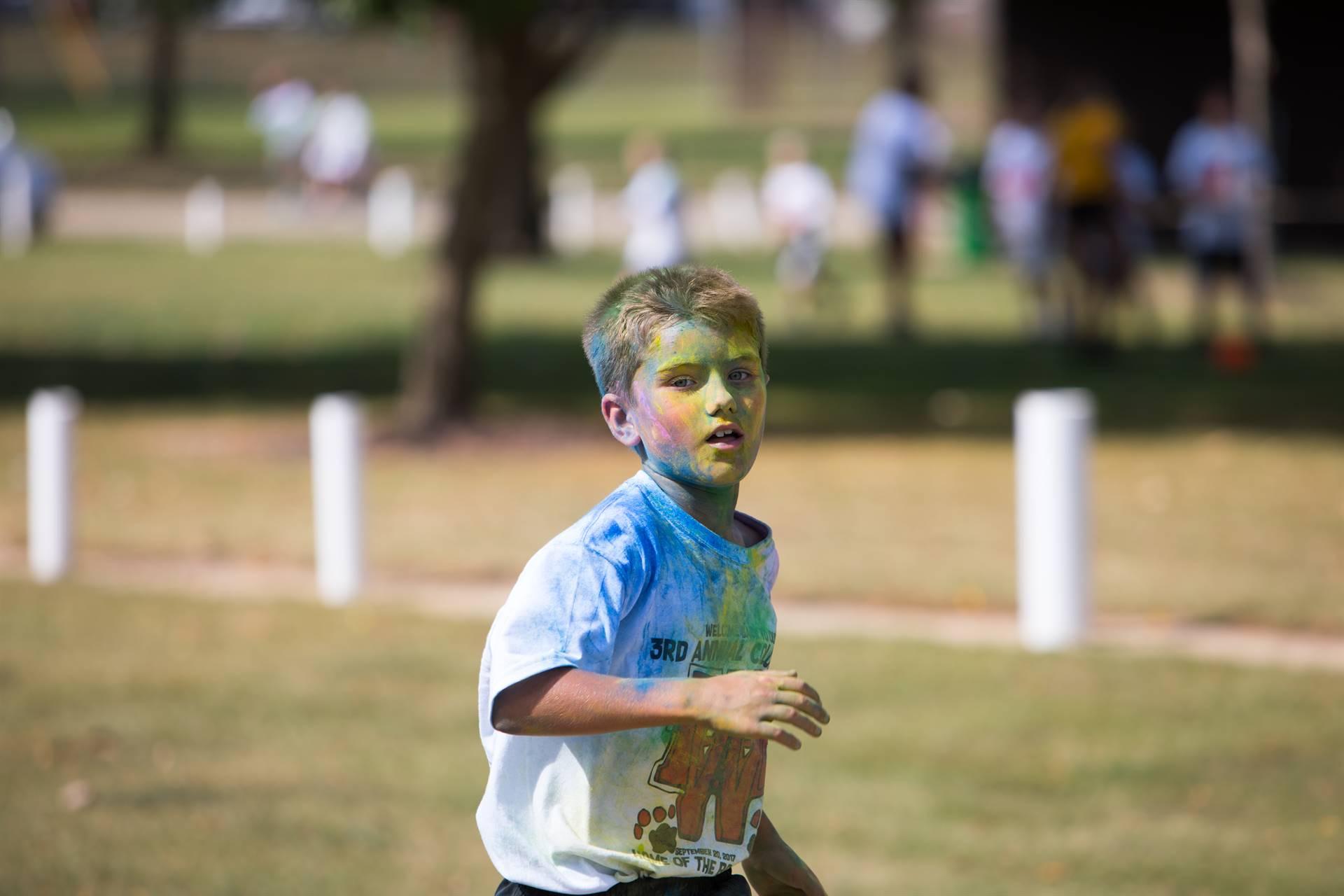 Boy at color run