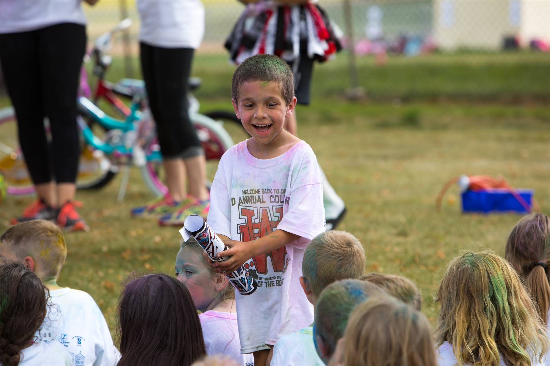 Boy with prize at color run