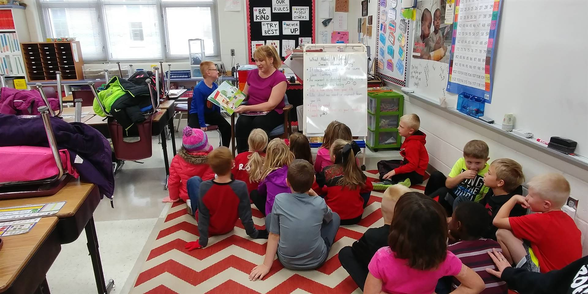 First grade student's mother reading to class