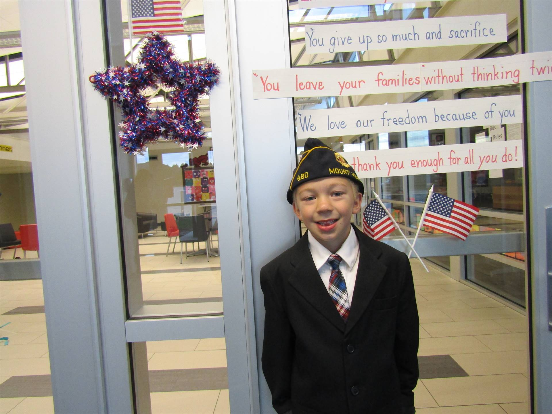 Dyersville Elementary 1st grade boy dressed in Army gear