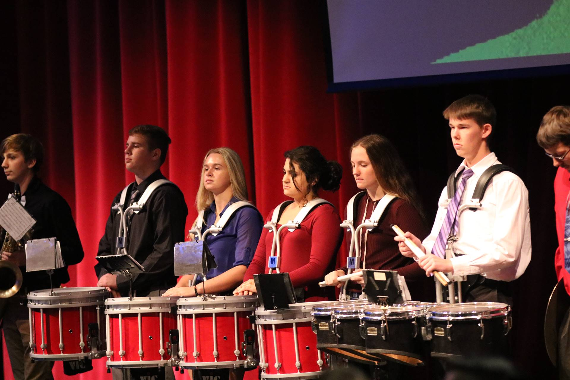 WDHS Drumline playing at Veterans Day assembly