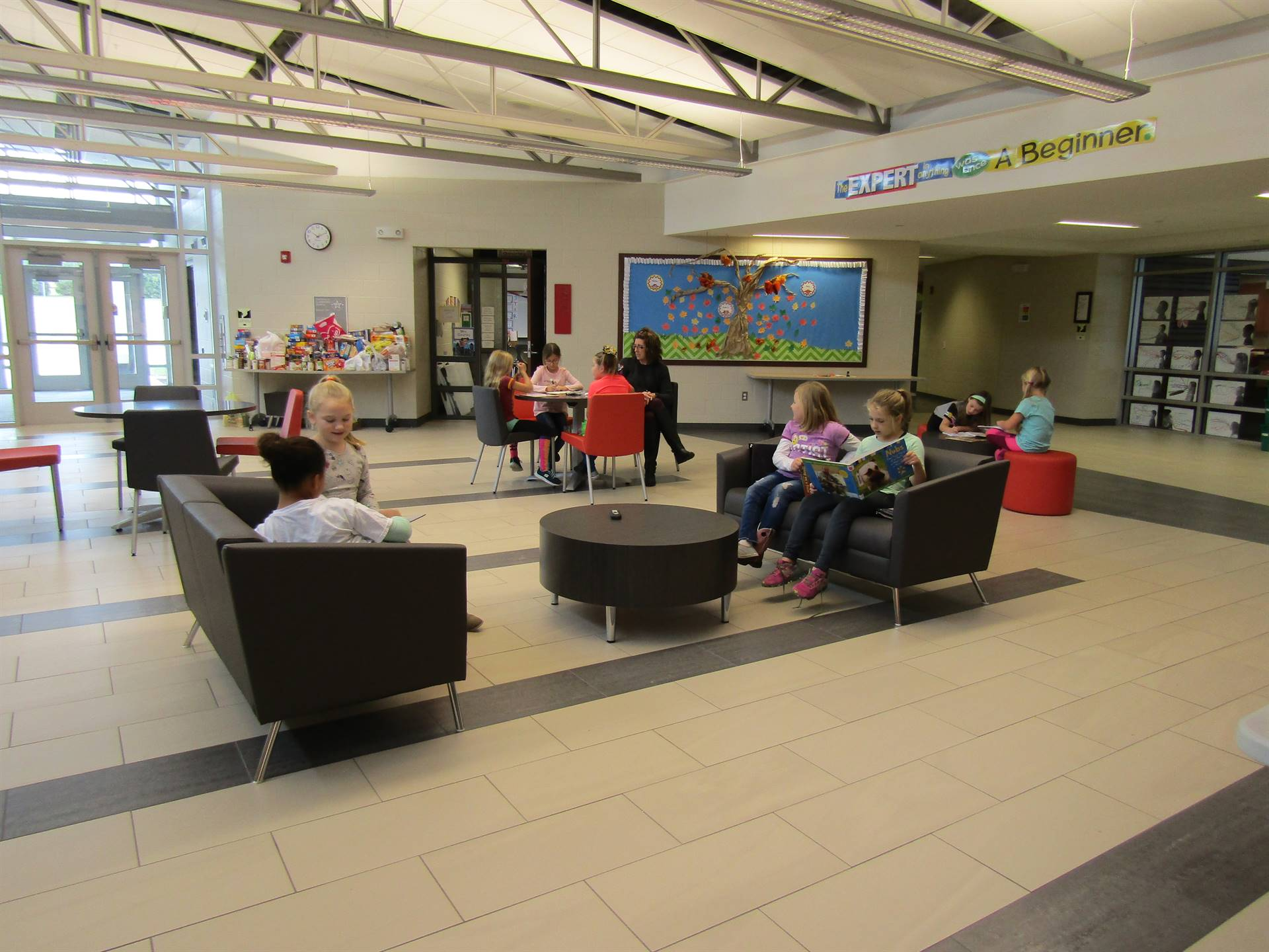 Our new lobby furniture is being used by many students.