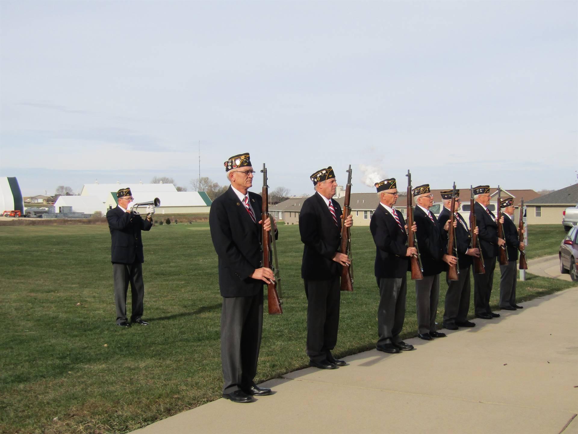 21 gun salute at Veterans' Day program.