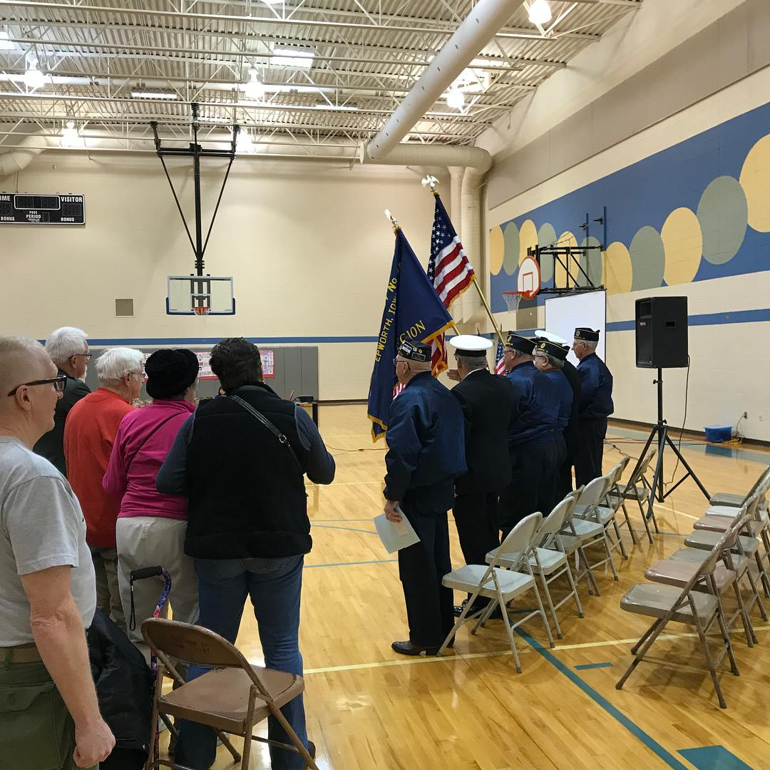 A shot from the Veteran's Day Assembly at Epworth Elementary