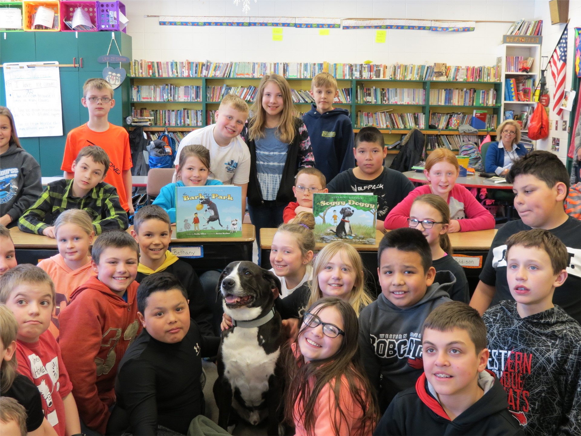 Students with dog from author