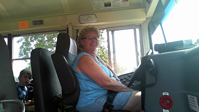photo of route driver Joanne Potter in her bus