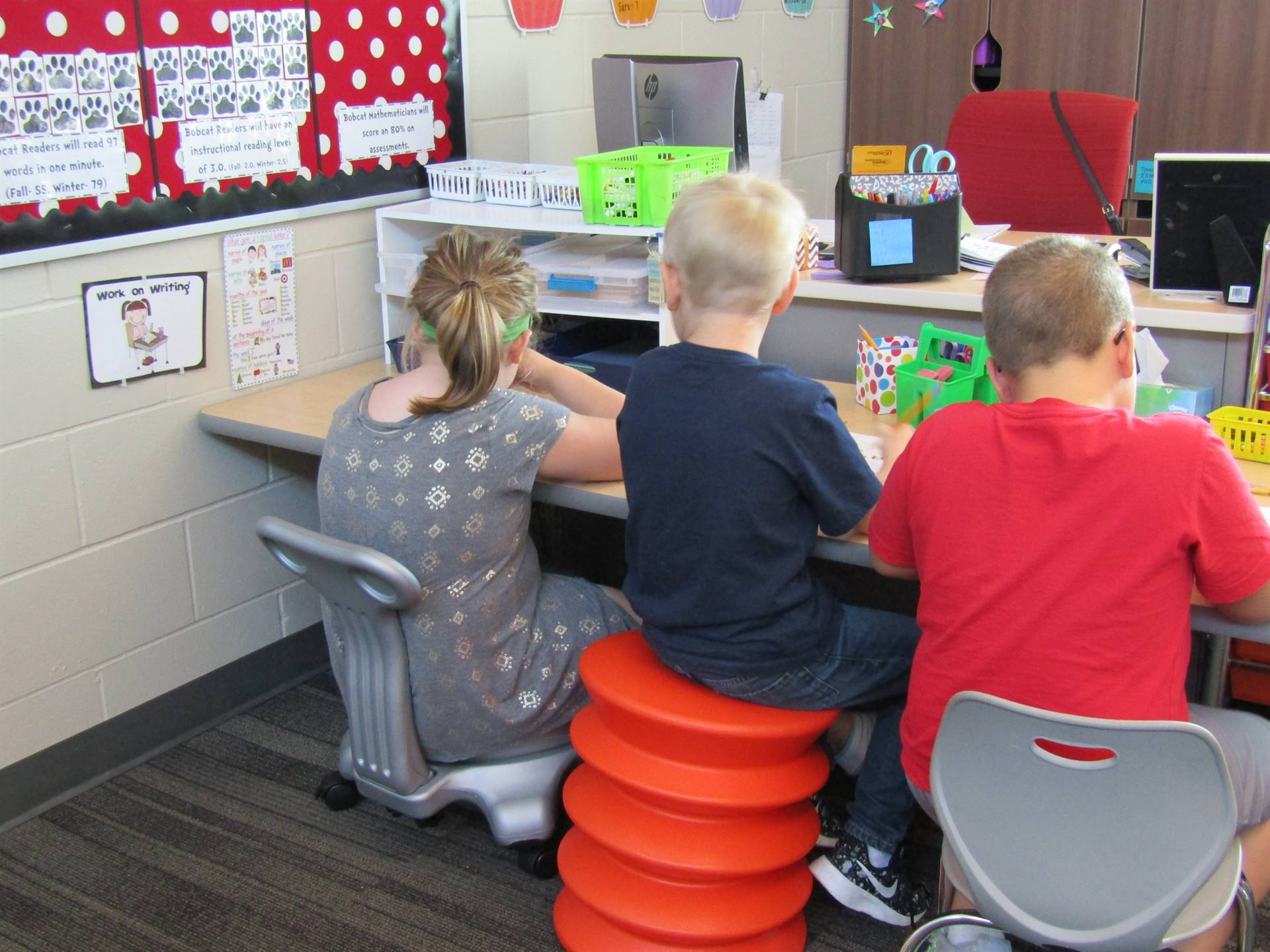 The students love the flexible seating options