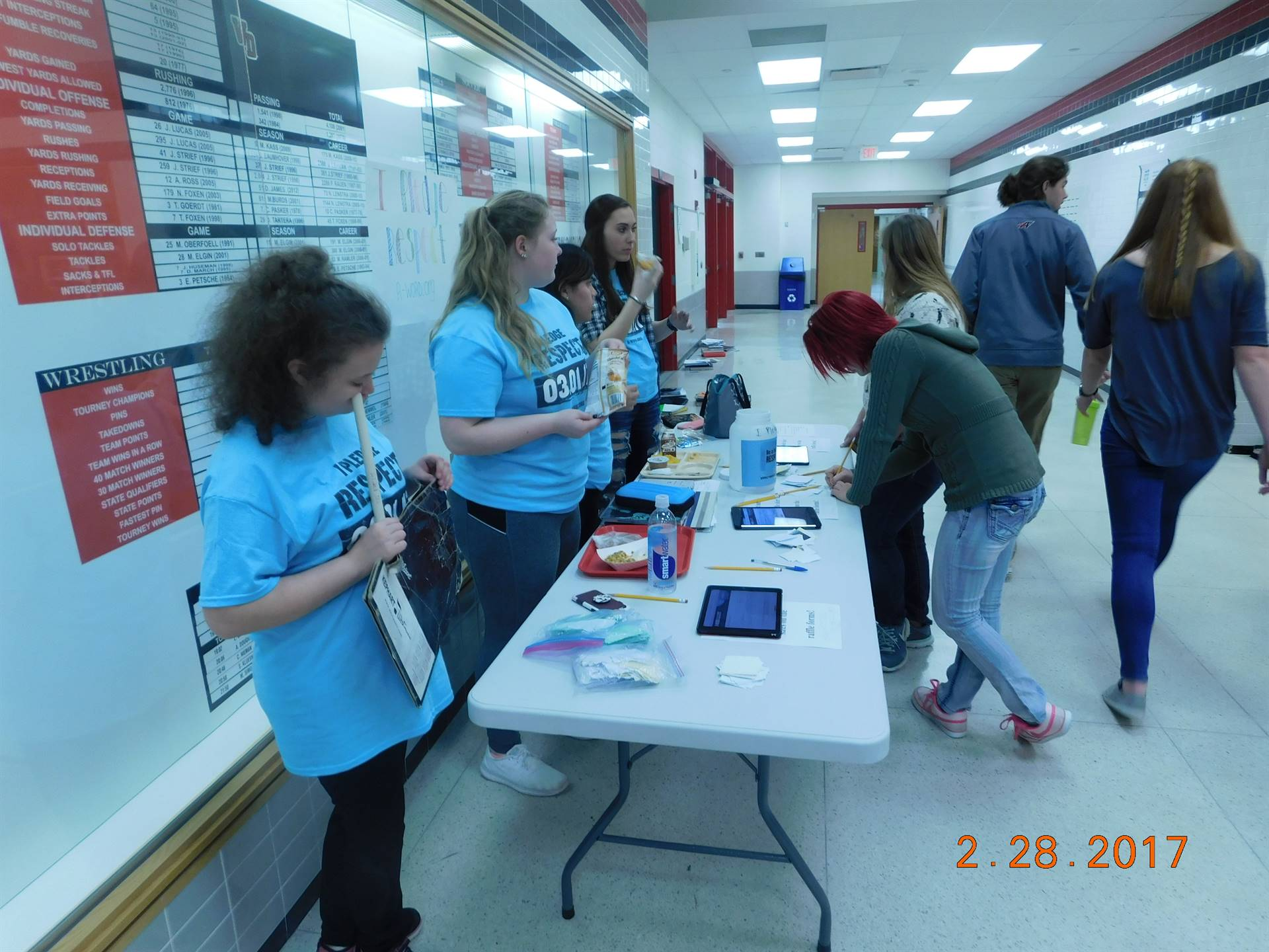 """Students taking pledges for Spread the Word """"Respect"""" Day at WDHS"""