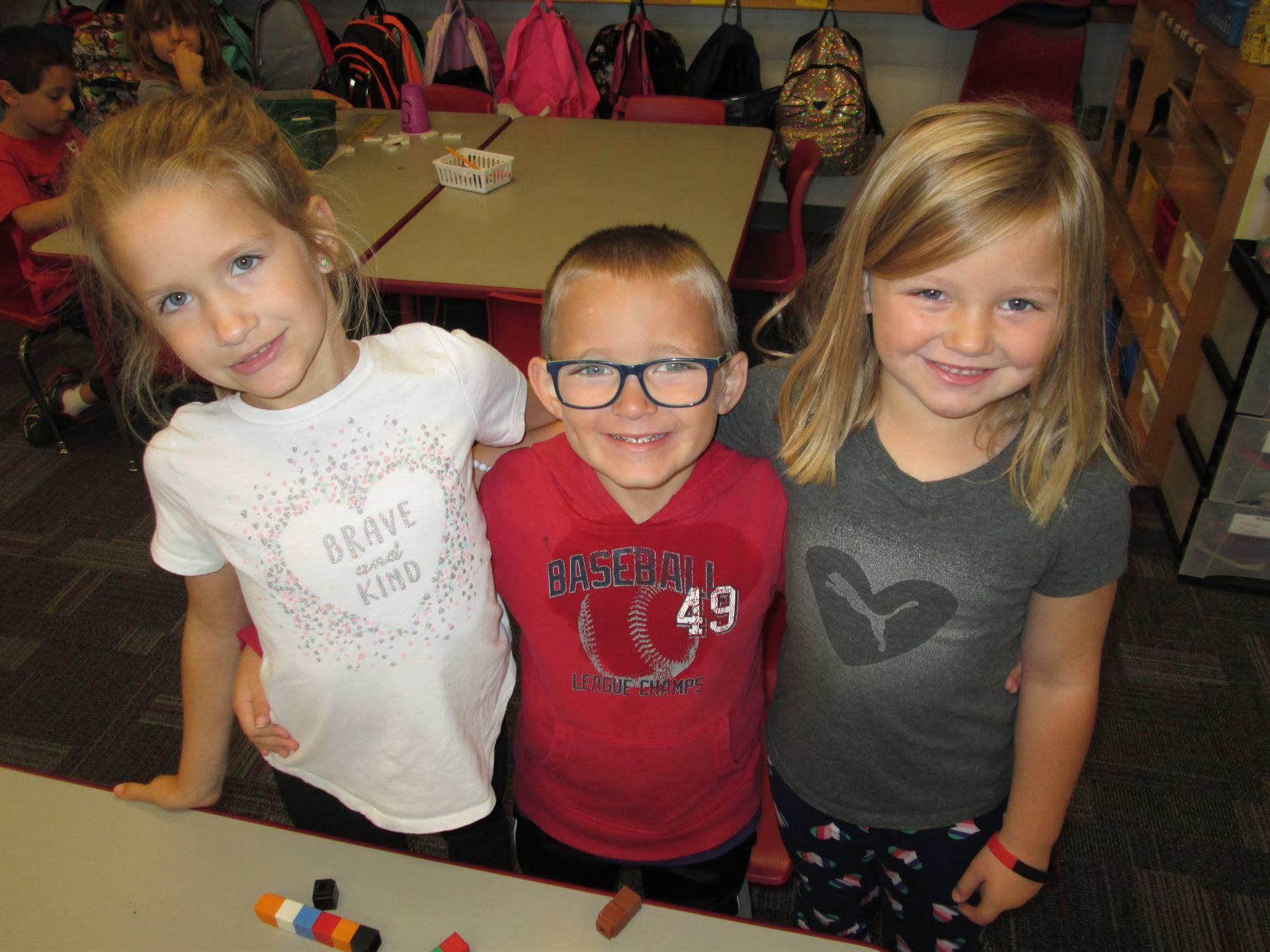 kids posing at indoor recess