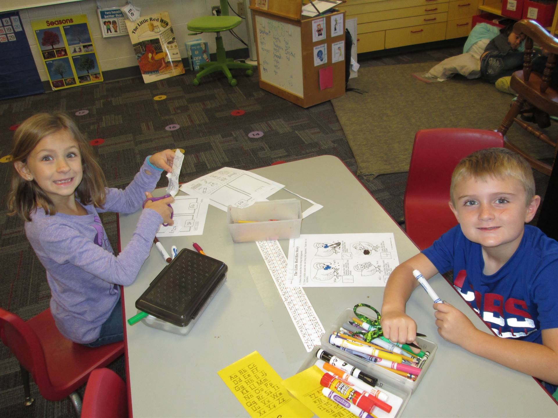 students working independently