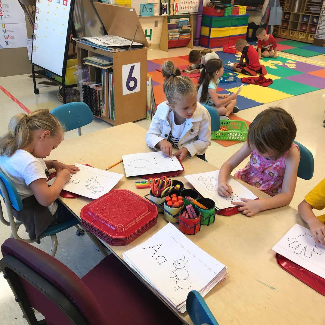 Kindergarten students working in a small group