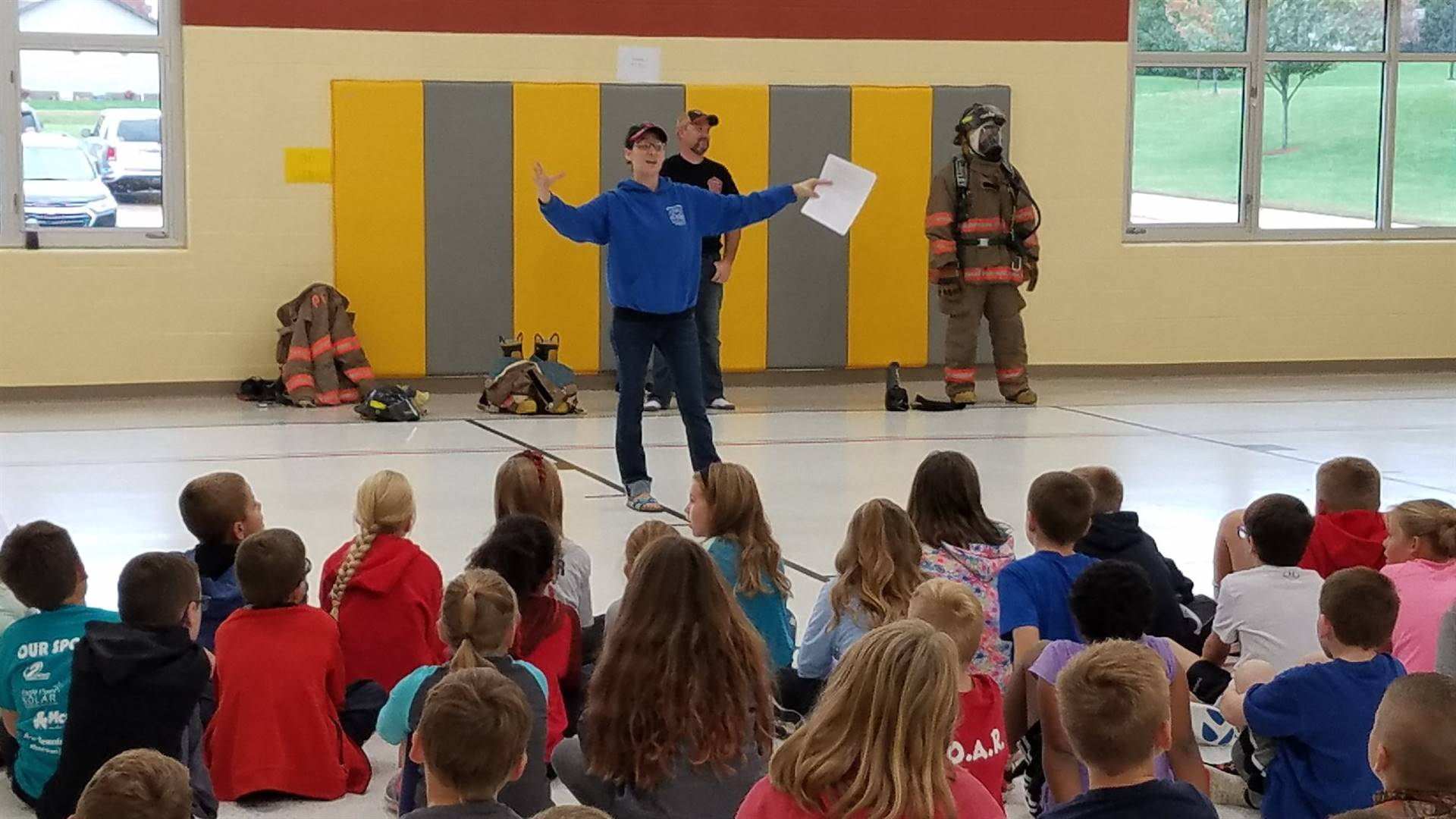 Fire department staff doing safety presentation
