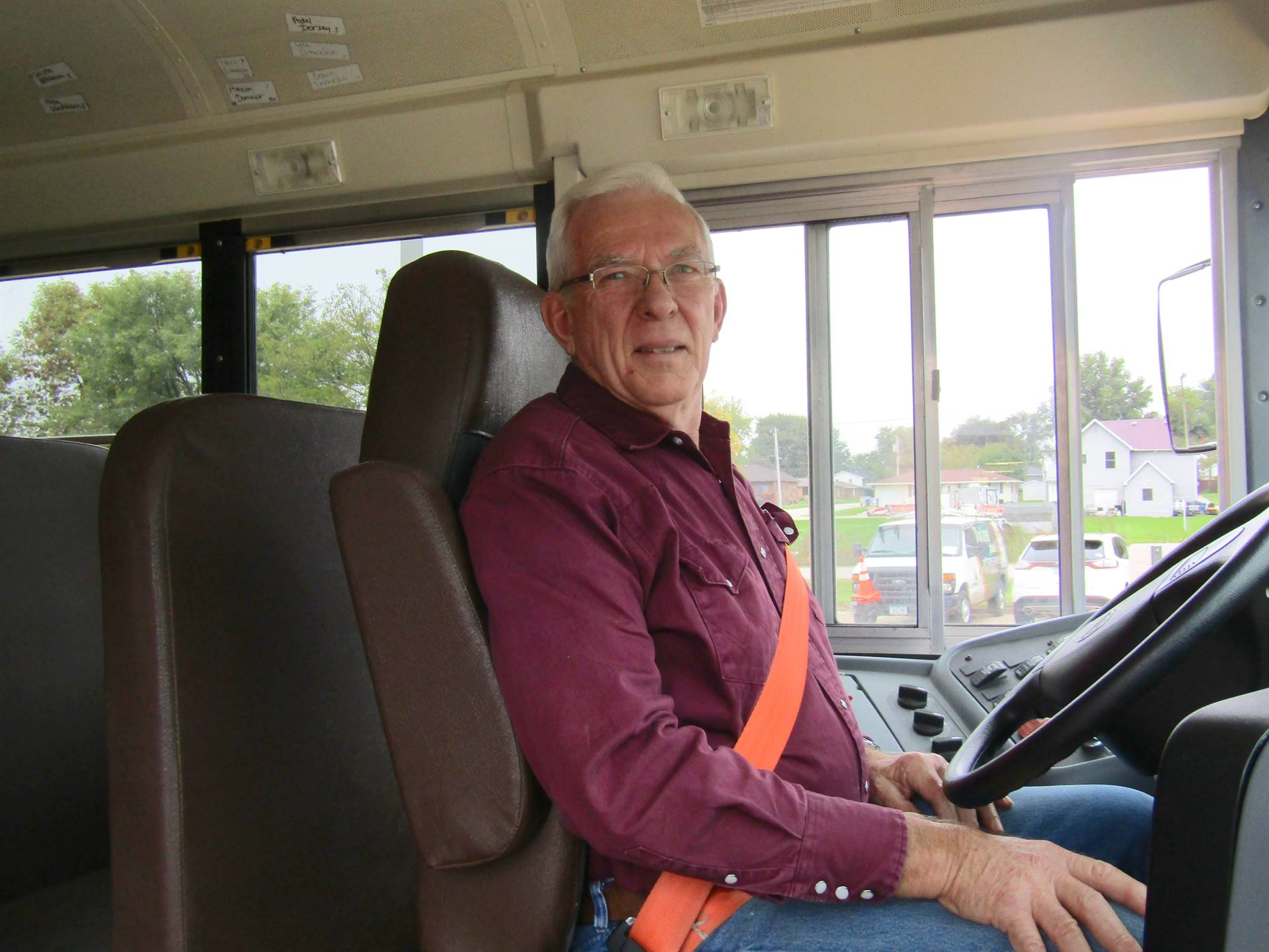 A substitute bus driver fills in for a route bus driver