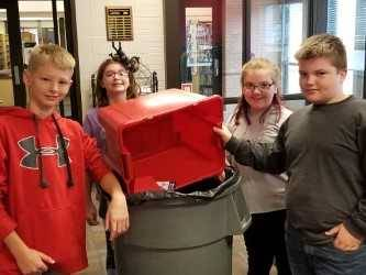 Drexler Middle School GREEN TEAM  recycle paper at DMIS