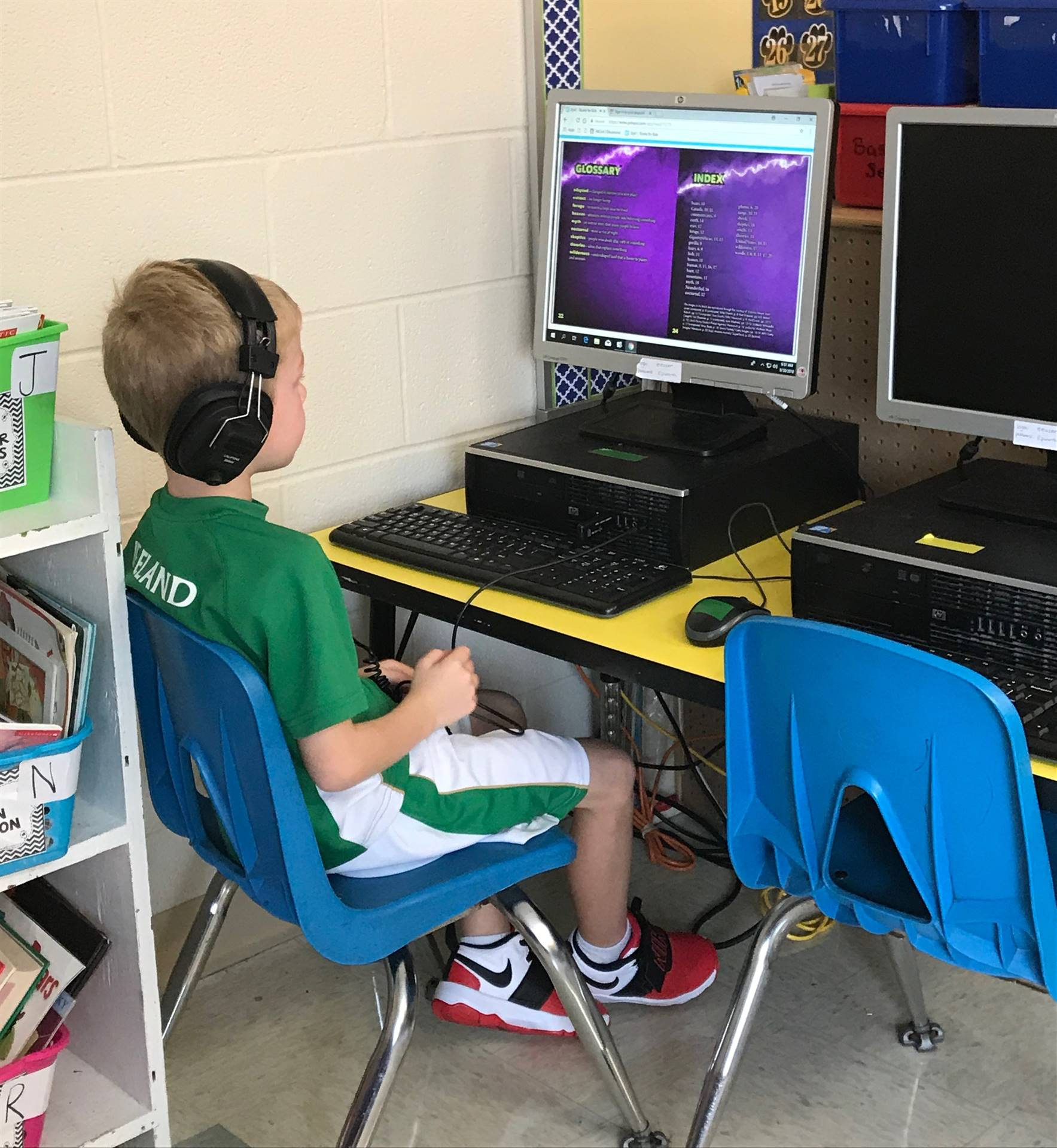 Elementary student working on the computer
