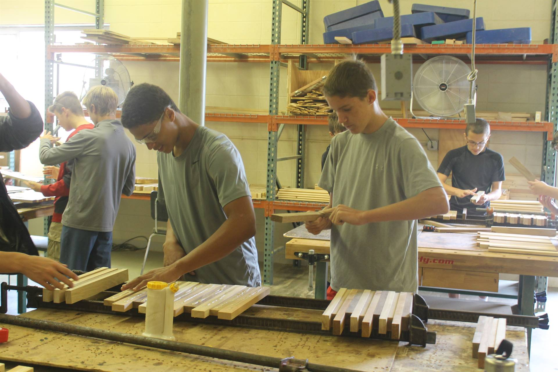 Vocational Manufacturing students working in class