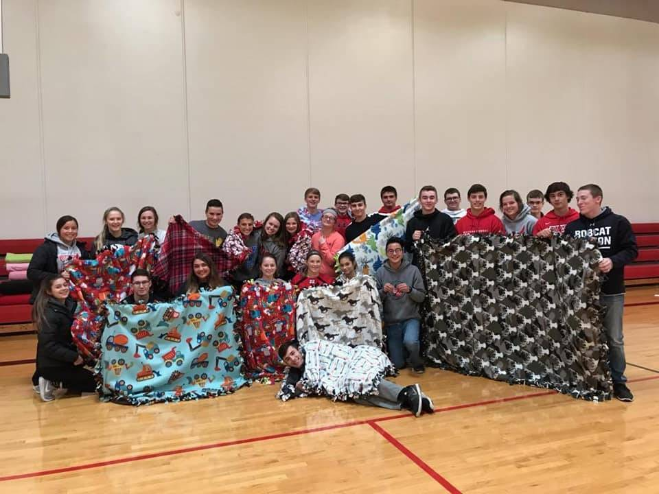 Students made blankets on Fall Service Day