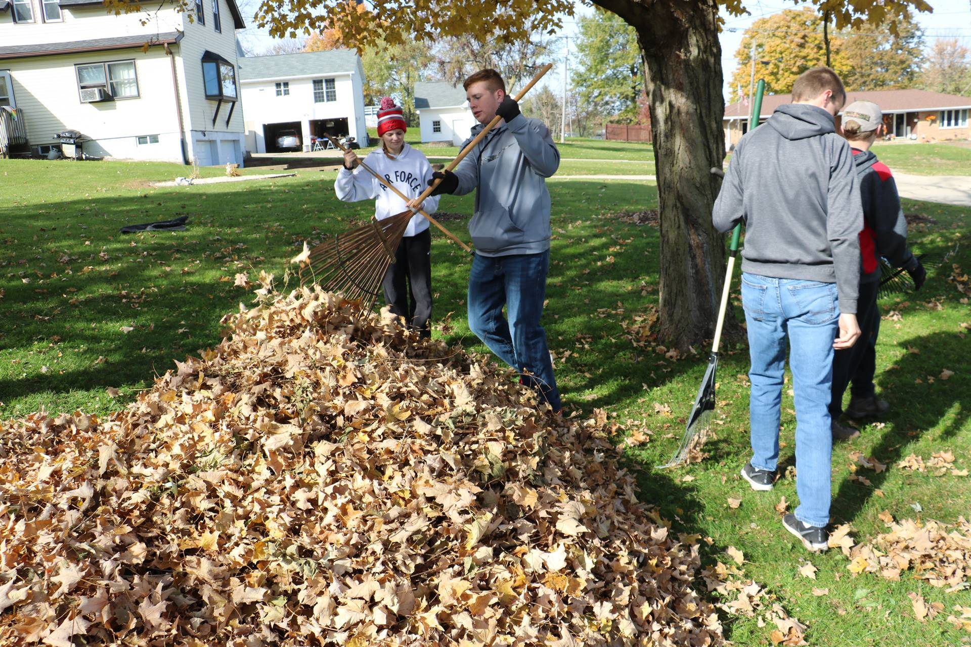 High school students raking leaves