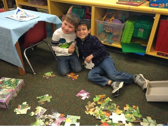 2 students with puzzzle