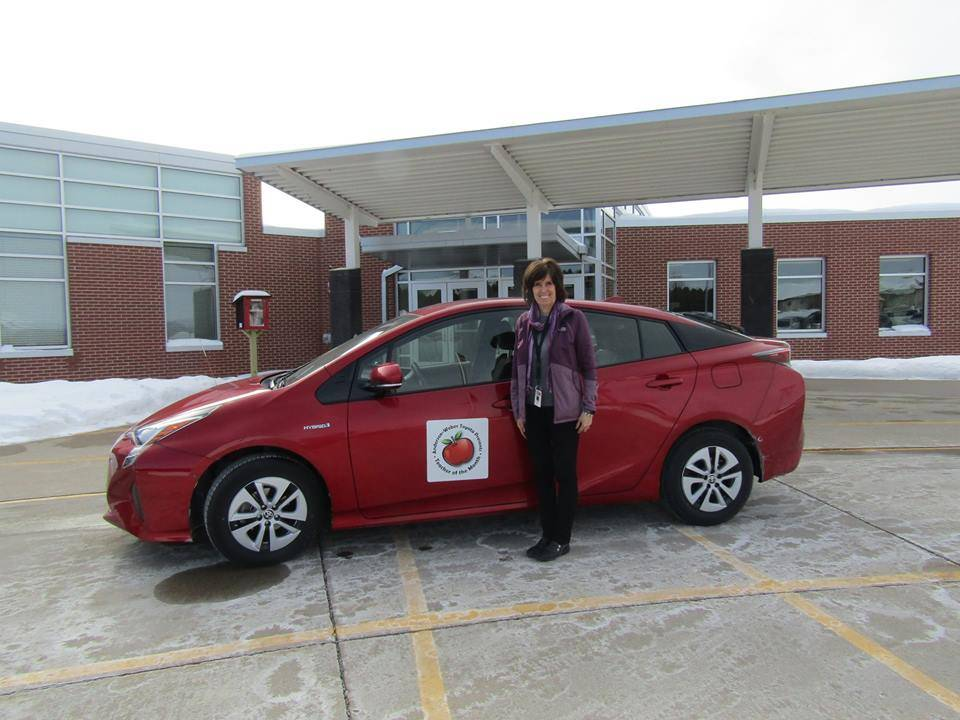 Mrs. Daly won Teacher of the Month and use of a car for a month