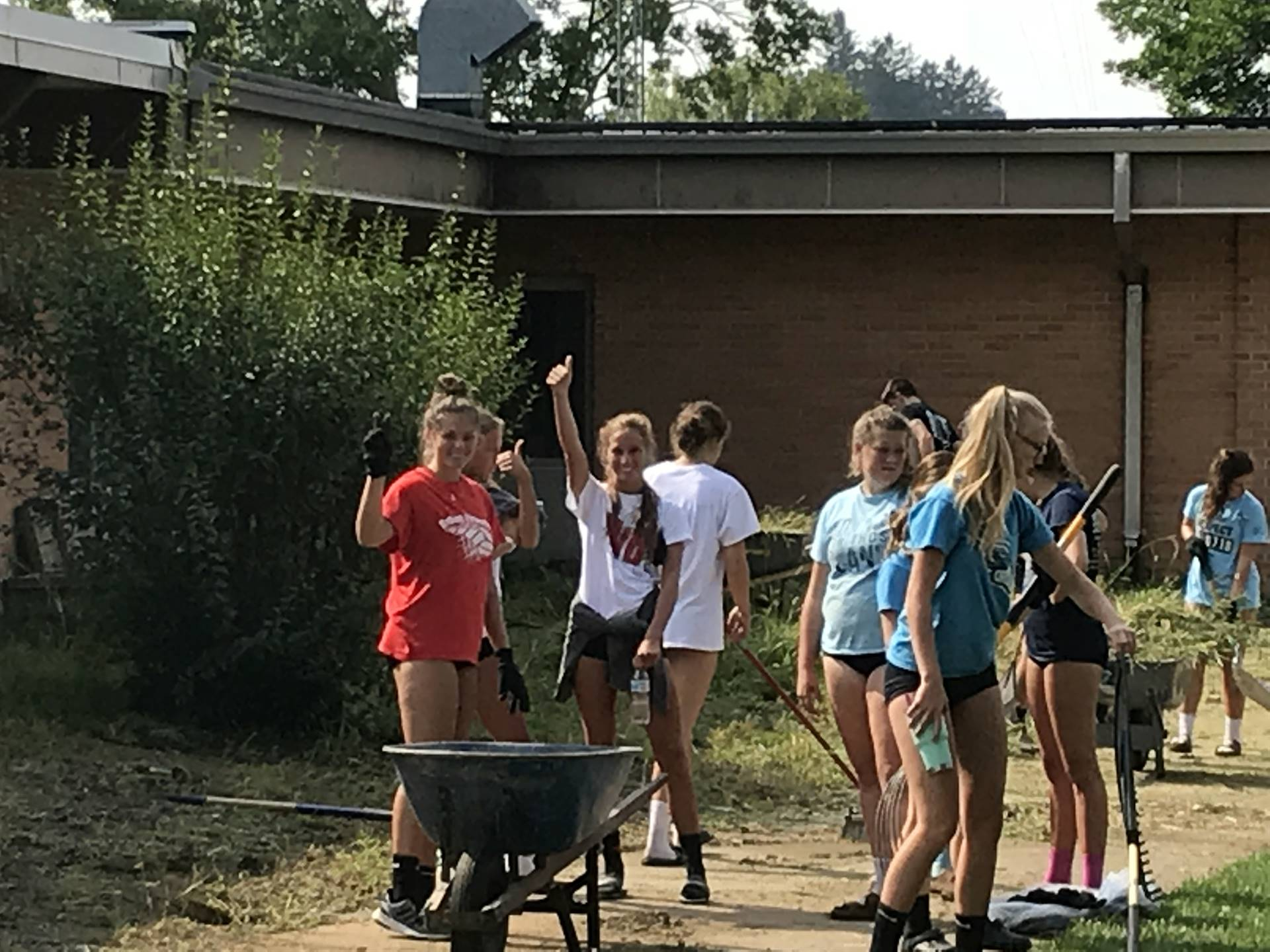 Students & Staff working during Campus Cleanup