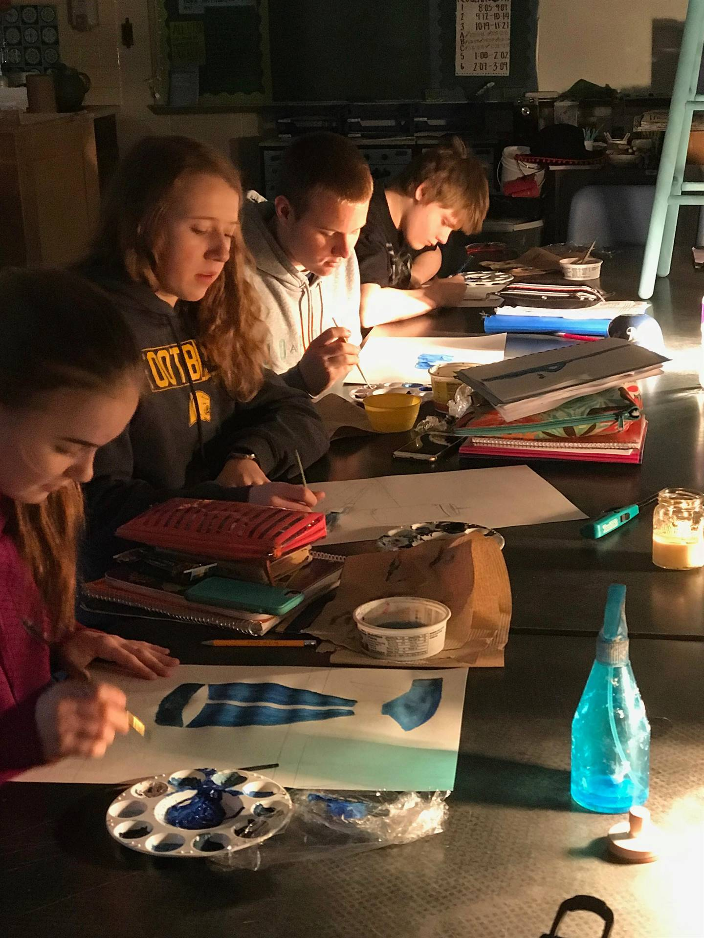Students Painting Still Objects