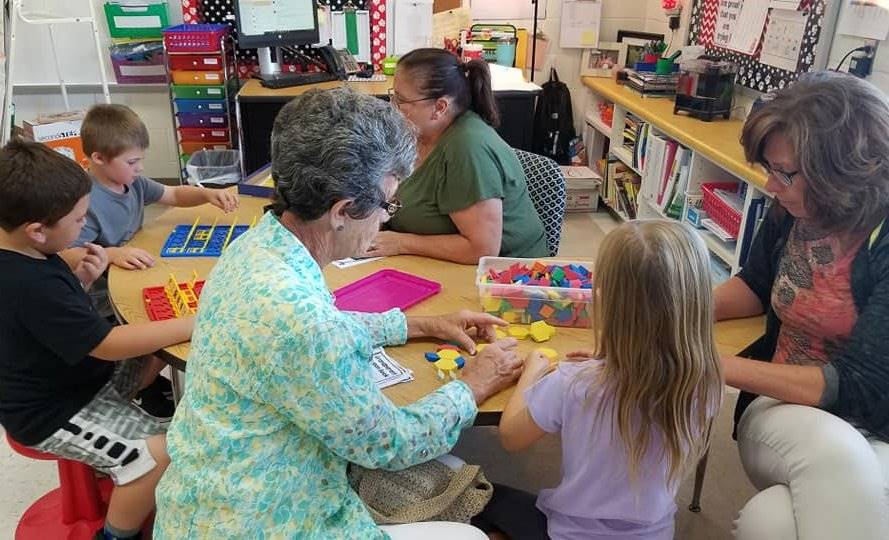 Grandparents playing games during Grandparents Day