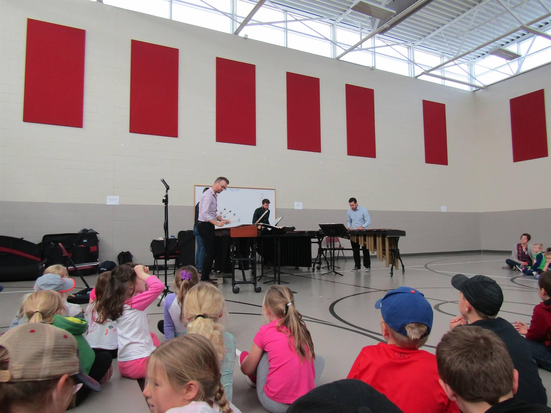 All school assembly featuring the Heartland Marimba Quartet