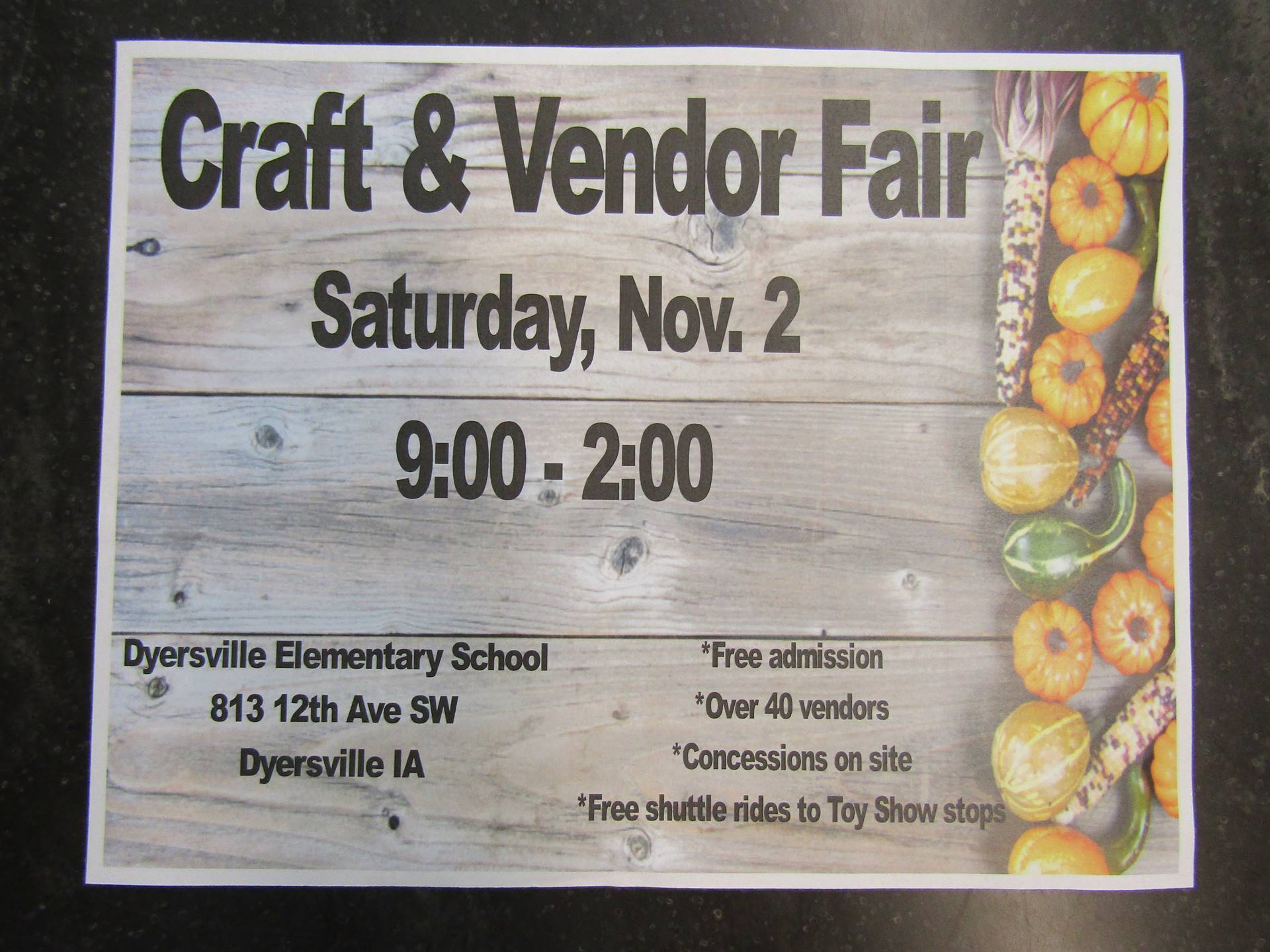 Please consider attending our Craft and Vendor Fair
