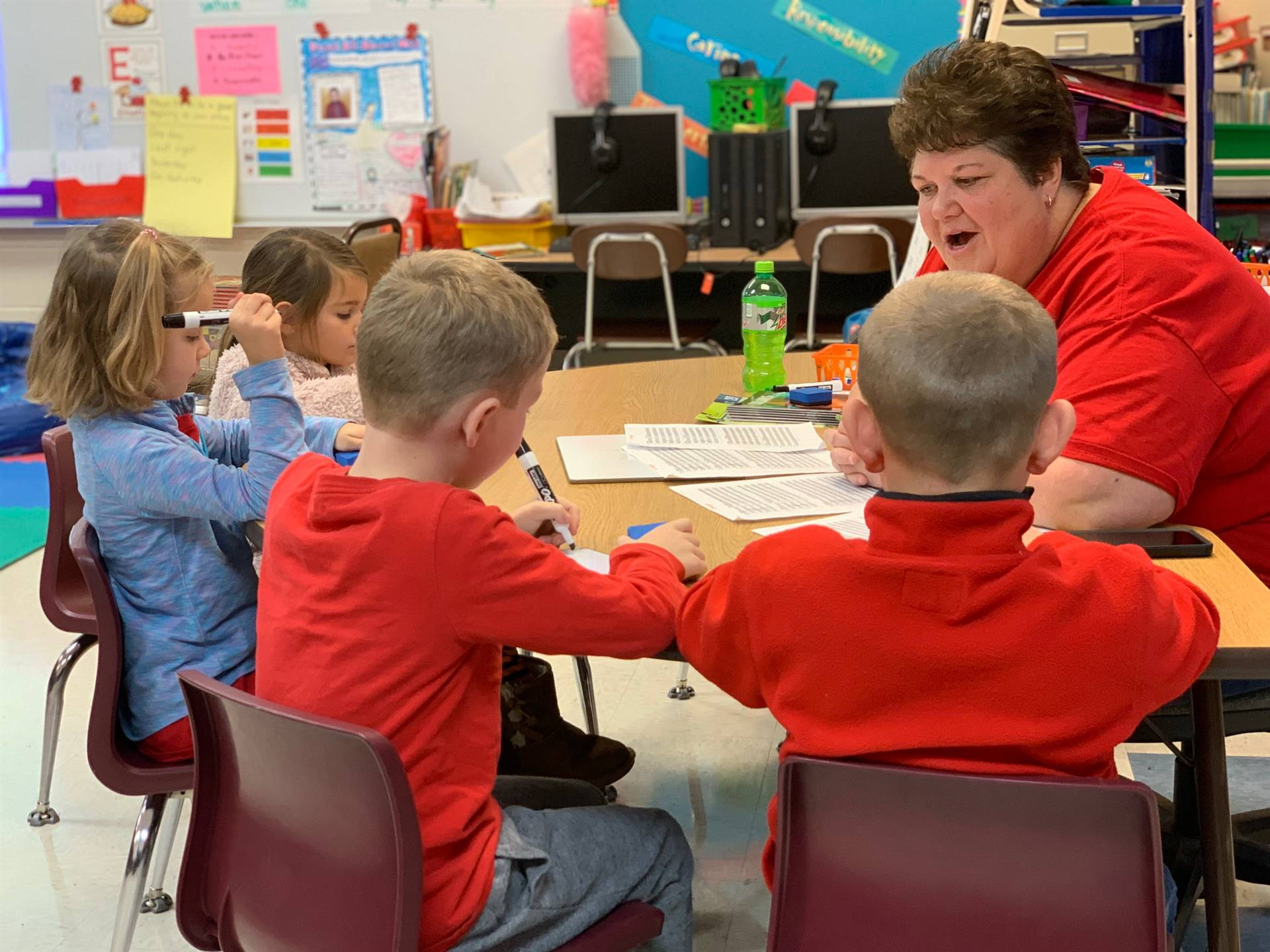 Elementary students learning guided reading