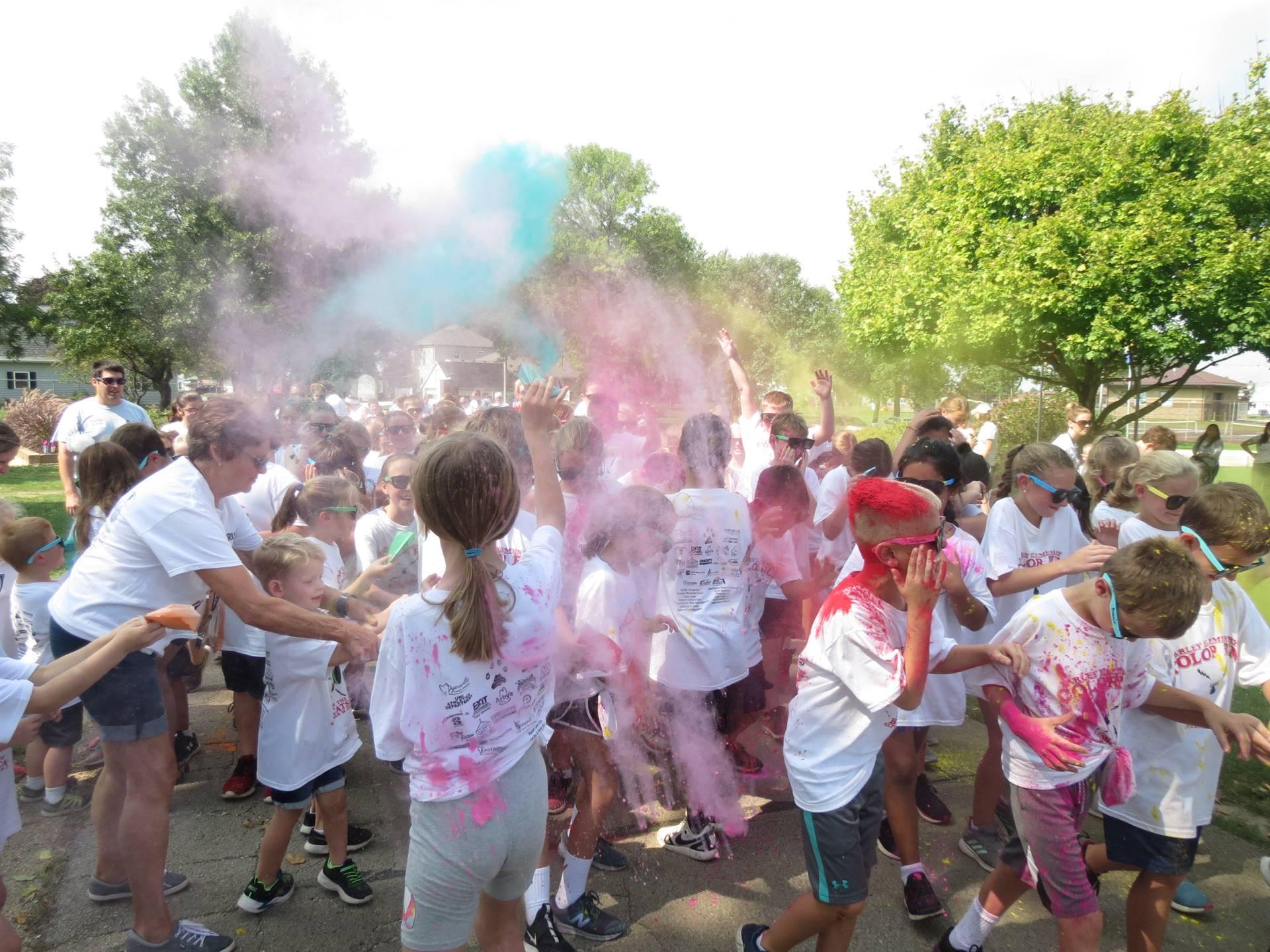 Students enjoying color run