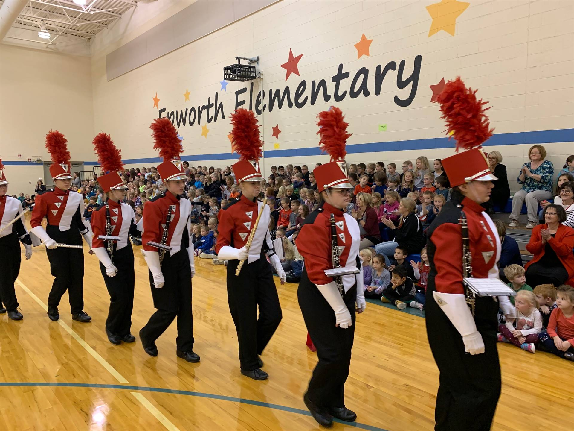 WDHS marching band performing for elementary students