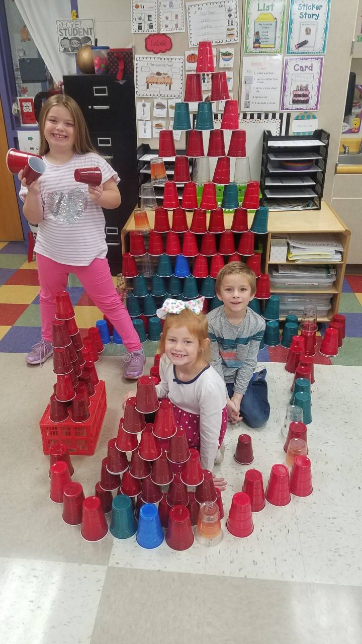 1st Grade Students Building a Tower with Cups