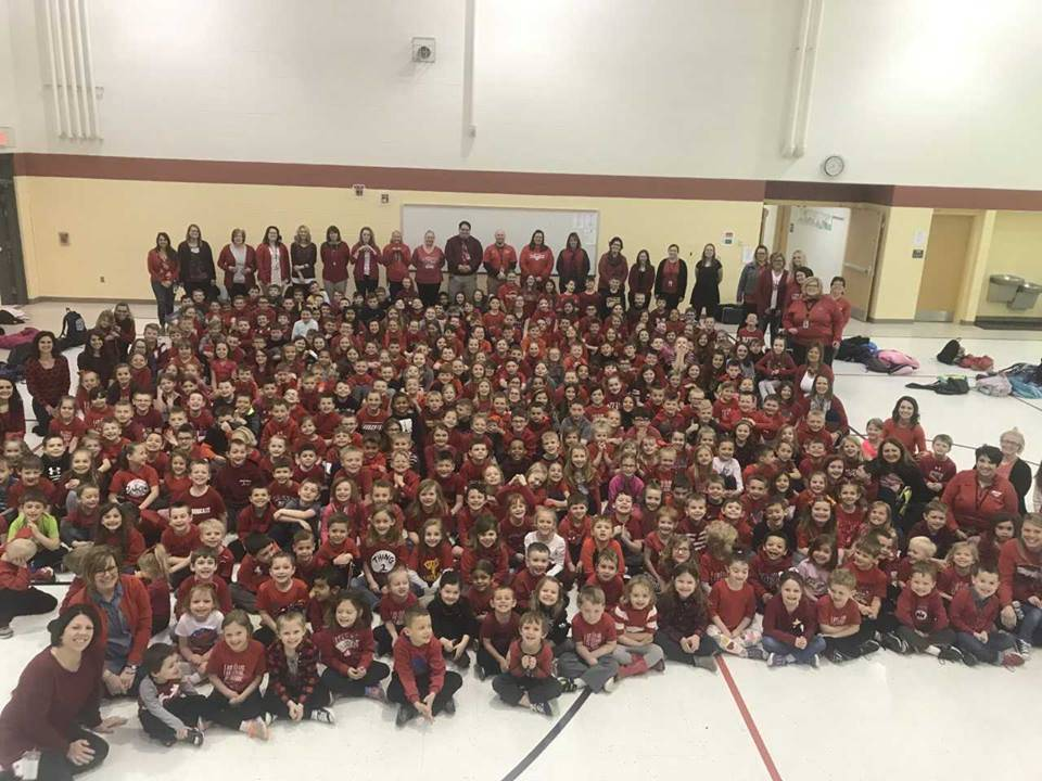 All School Wearing Red
