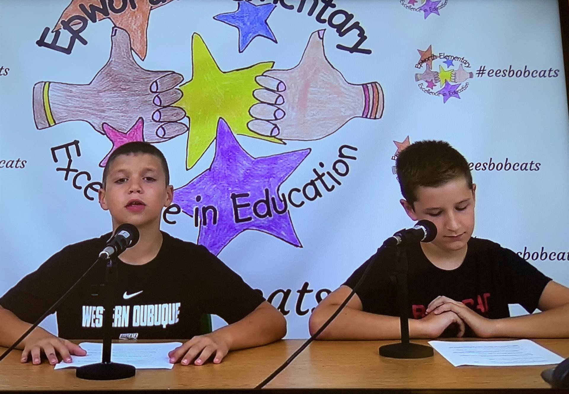 Fourth graders leading live announcements