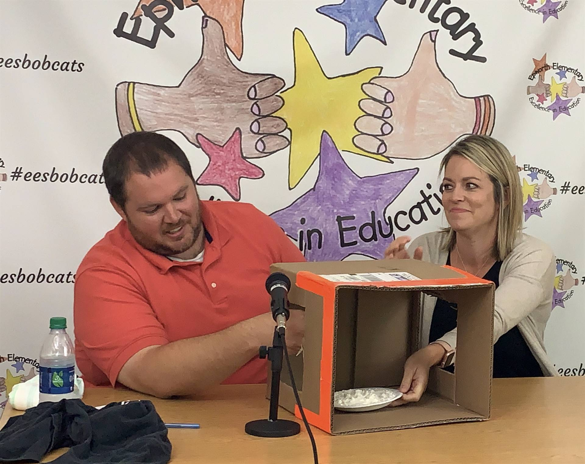 Mr. Deutmeyer and Mrs. Fennel during live announcements