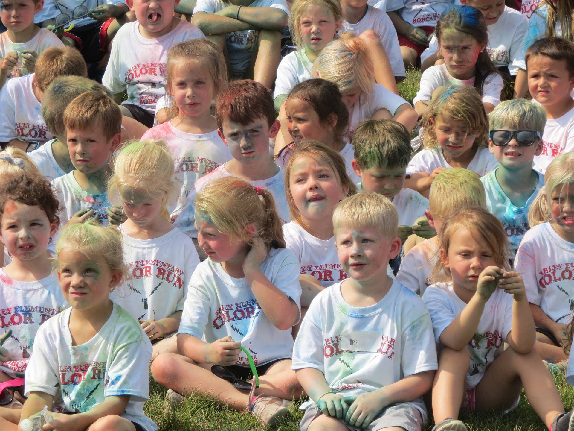 group of kids after color run