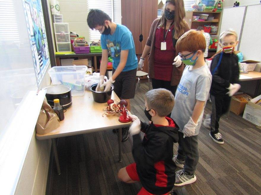 Teacher supervising students' apple sauce cooking activity.
