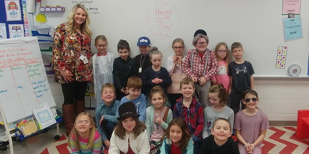 1st grade class on the 100th day of school
