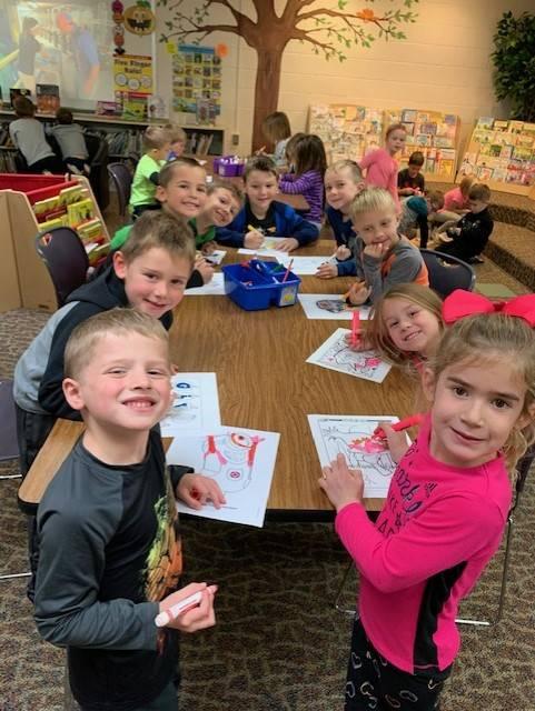 Kindergarten students during indoor recess