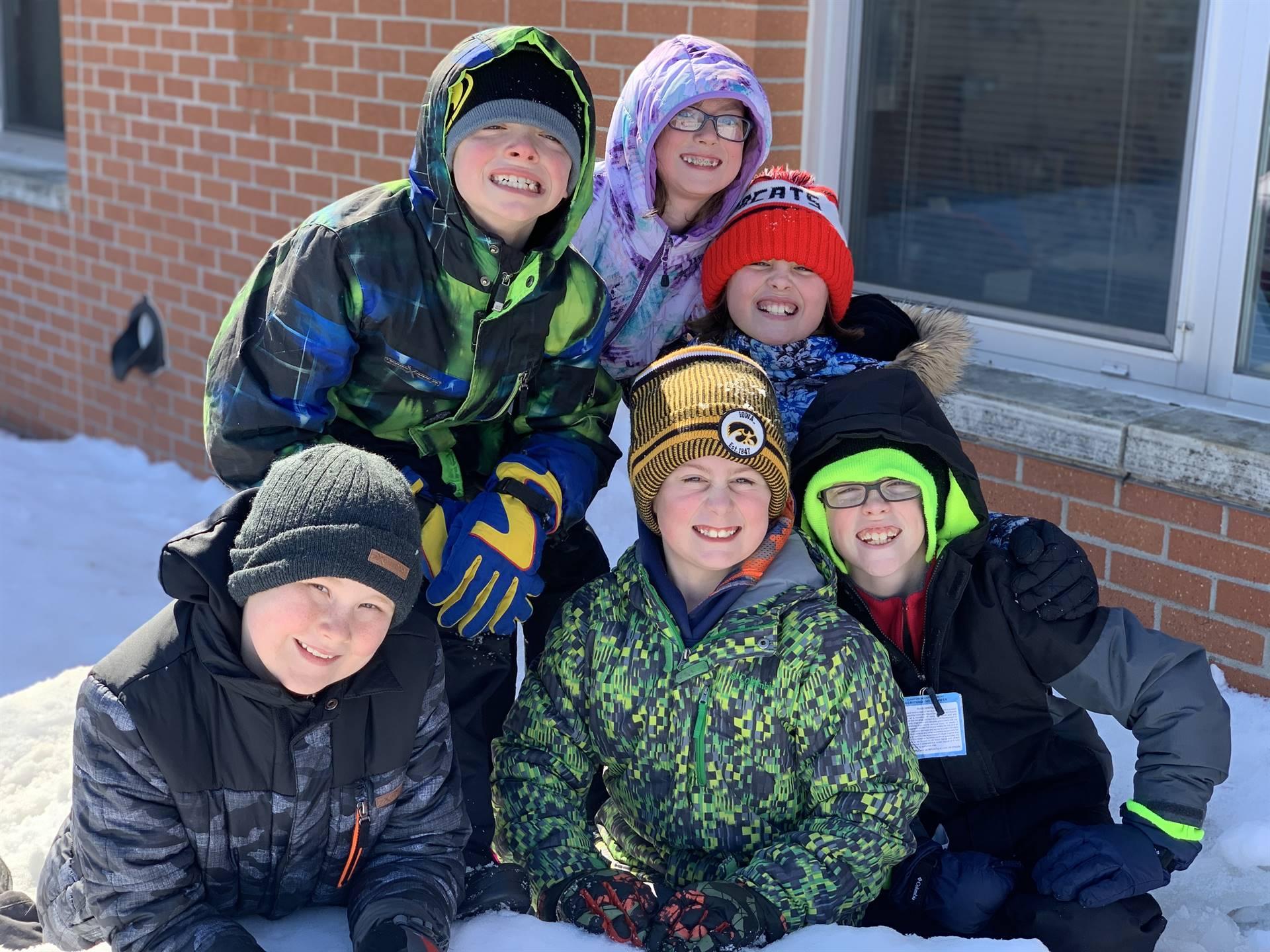 Fourth graders at recess