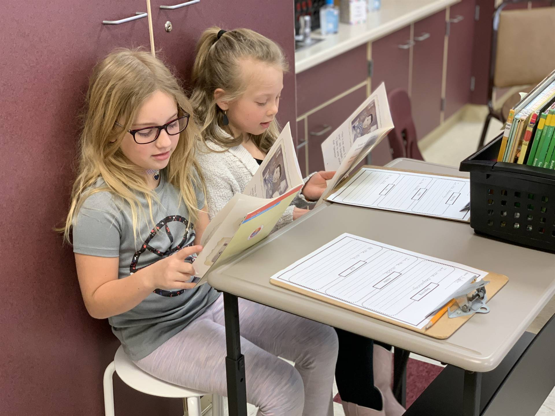 First graders read together