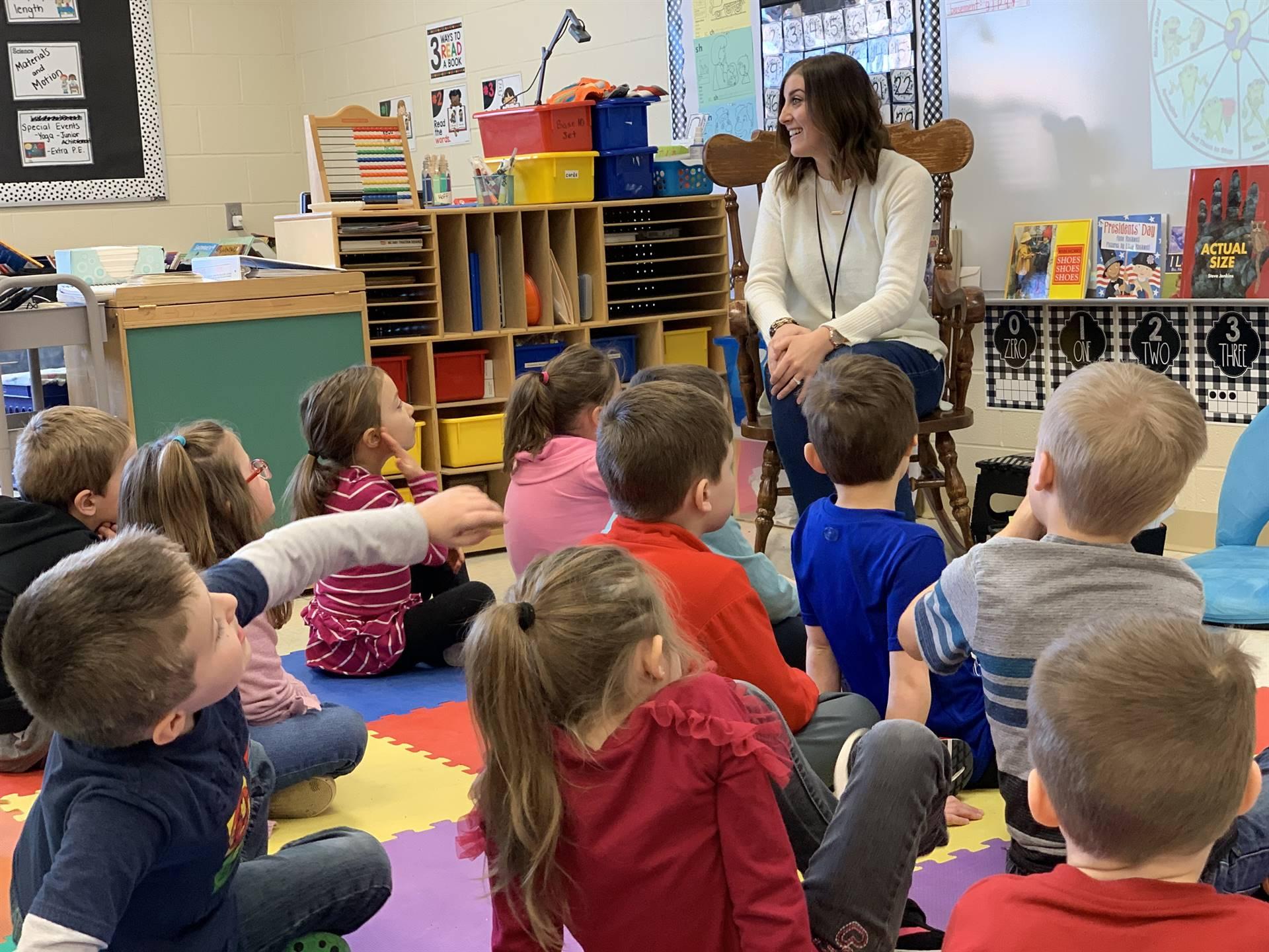 Mrs. Elsinger leading guidance with kindergarteners