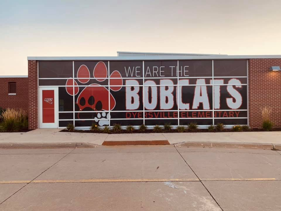 """New """"Bobcat"""" signage on our school"""